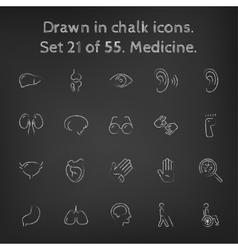 Medicine icon set drawn in chalk vector