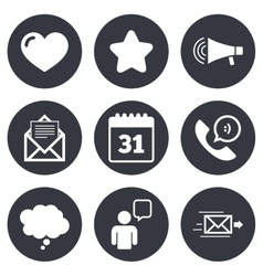 Mail contact icons communication signs vector