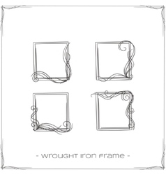 Wrought iron frame five vector