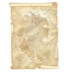 Old pirates treasure island map with marked vector