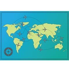 Airplane route world map vector
