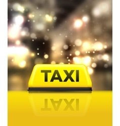 Taxi car on the street at night vector