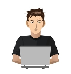 Young man with computer icon vector