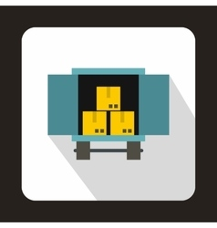Truck loaded with boxes icon flat style vector