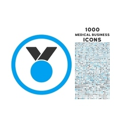 Army medal rounded icon with 1000 bonus icons vector