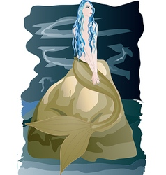 Beautiful mermaid sitting on rock by the sea vector