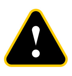 black triangle exclamation mark icon warning sign vector image vector image