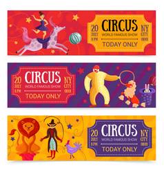 circus horizontal banners set vector image vector image