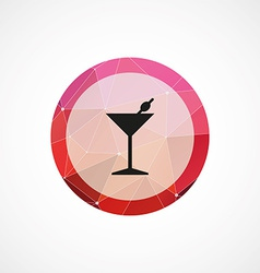cocktail circle pink triangle background icon vector image