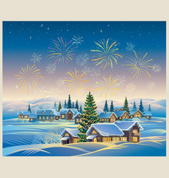 festive rural landscape with winter village and vector image