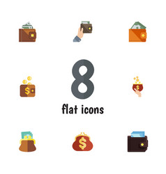 flat icon purse set of billfold wallet currency vector image vector image