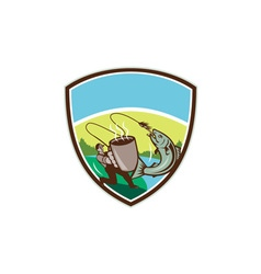 Fly fisherman salmon mug crest retro vector
