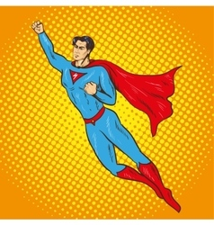 Flying up superman retro vector