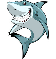 Funny white shark vector