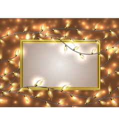 Gold frame with place for text surrounded by vector