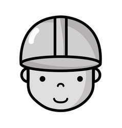 grayscale avatar man head with cap design vector image