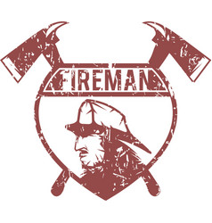 Grunge emblem of fire department with fireman vector