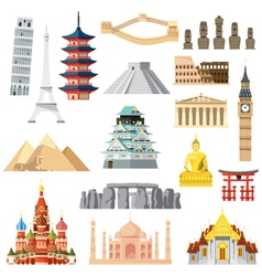 Landmarks set in flat design vector image