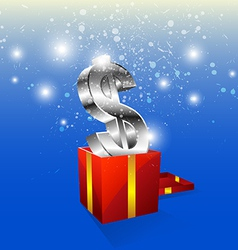money icon with gift box vector image vector image