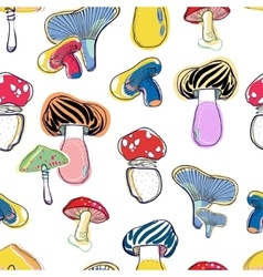 mushrooms seamless pattern vector image vector image