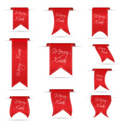 red hanging curved ribbon banners set for merry vector image