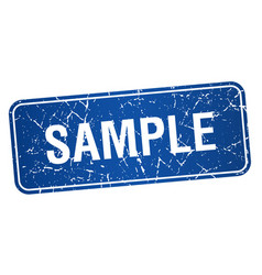 Sample blue square grunge textured isolated stamp vector