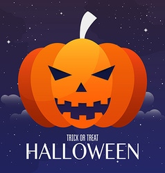 Scary Jack O Lantern halloween pumpkin on night vector image