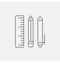 School supplies line icon vector image
