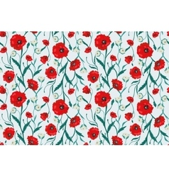 Seamless Flower Poppies and Roses Pattern vector image