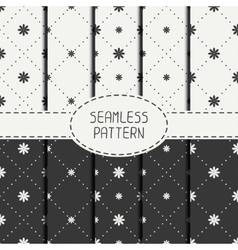 Set of geometric floral seamless pattern with vector image vector image