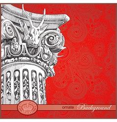 sketch column with floral ornate background vector image