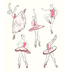 Sketch of girls ballerinas set vector
