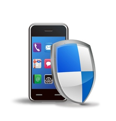 smart phone with protection shield vector image vector image