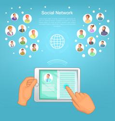 social network concept tablet cartoon style vector image