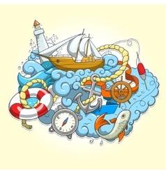Summer sailing abstraction vector