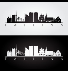 tallinn skyline and landmarks silhouette vector image