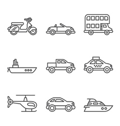 Transport icons simple and thin line vector image