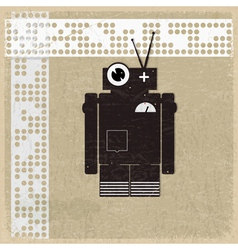 Vintage background with the silhouette of a robot vector image vector image