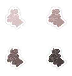 Set of paper stickers on white background bride vector image