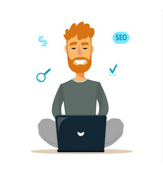 Man sitting on the floor and working with laptop vector