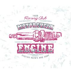 motorcycle engine repair emblem vector image