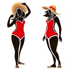 Swimsuit woman silhouettes of fat fashion girl vector