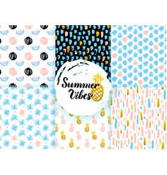 Summer funky seamless patterns vector