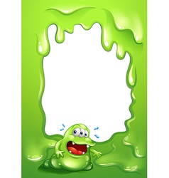 A green border design with a green monster vector