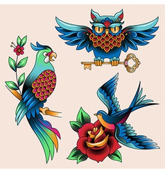 Tattoo birds vector
