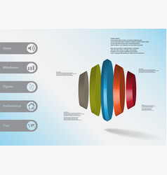3d infographic template with round hexagon vector
