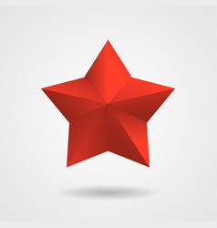 3d red star flat style vector