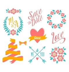 Big wedding graphic set vector