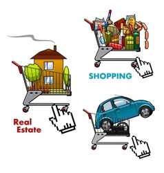 Shopping carts with food car and real estate vector