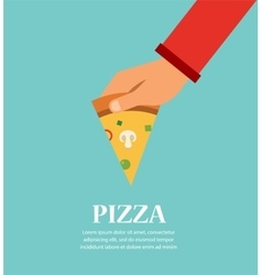 Piece of pizza in a hand template for pizzeria vector